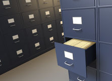 Filing room and cabinets for archives. File cabinet room with an open drawer full of files Stock Images