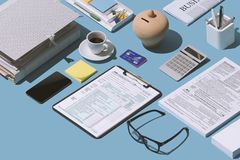 Filing the 1040 tax return form. Filing the 1040 individual income tax return form on the office desk, finance and accounting concept, isometric objects stock images