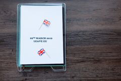 Filing tray with Brexit date stock images