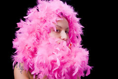 Filings: Lady In Pink Feather Stock Image
