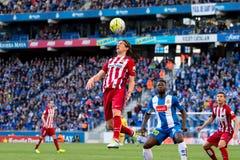 Filipe Luis joue à la correspondance de Liga de La entre le RCD Espanyol et l'Atletico De Madrid Photo libre de droits
