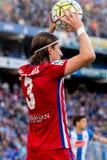 Filipe Luis plays at the La Liga match between RCD Espanyol and Atletico de Madrid Stock Photo