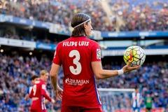 Filipe Luis plays at the La Liga match between RCD Espanyol and Atletico de Madrid Royalty Free Stock Photos