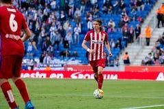 Filipe Luis-spelen bij de gelijke van La Liga tussen RCD Espanyol en Atletico DE Madrid Royalty-vrije Stock Foto's