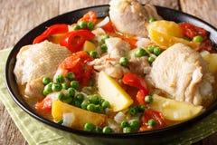 Filipińczyk Afritada: plasterki kurczak z warzywa zakończeniem wewnątrz fotografia stock