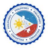 Filipińska mapa i flaga w rocznik pieczątce Zdjęcia Royalty Free