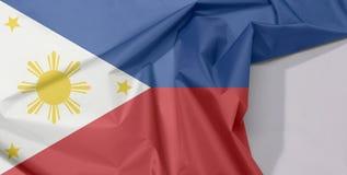 Filipińska tkaniny flaga krepa i zagniecenie z biel przestrzenią zdjęcie royalty free