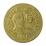 5 filipińskiego peso monety 1998 awers obraz stock