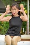 Filipina Adult Female Making Funny affronta fotografia stock libera da diritti