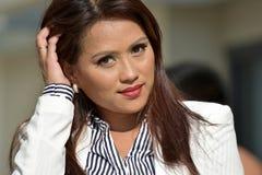 Filipina Business Woman Wondering royalty-vrije stock fotografie