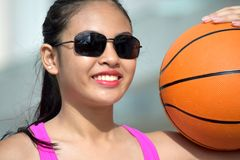Filipina Female Basketball Player Smiling fotos de stock royalty free