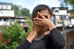 Filipina Female Senior And Fear royalty-vrije stock foto