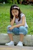 Filipina Girl Yawning mignon images stock