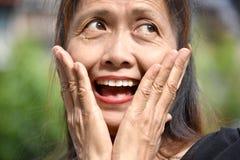 Filipina Granny superior surpreendido fotografia de stock