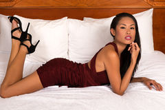 Filipina in purple Stock Images