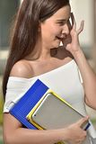 Filipina Student Teenager School Girl jovem e riso fotografia de stock royalty free