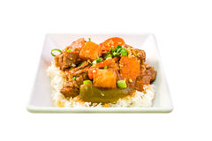 Filipino Beef Caldereta with rice Royalty Free Stock Images