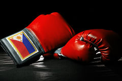 Filipino Boxing. Boxing gloves or martial arts gear on a black background Stock Photography