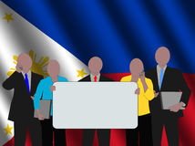 Filipino business team with flag Stock Image