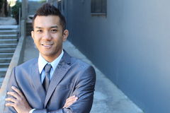Filipino Businessman Outside Office with copy space on the right Stock Photos