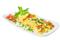 Filipino chicken adobo omelet side view Stock Photos
