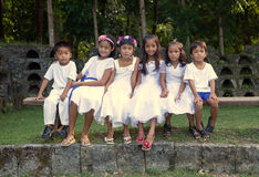 Filipino Children Dressed in White Stock Photography