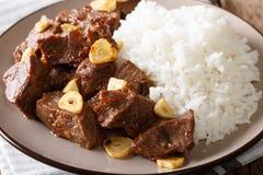 Filipino cuisine: beef Salpicao with rice garnish macro. horizon Stock Images
