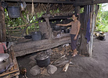 Philippines - Woman Cooking Food Stock Photography