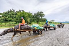 Filipino farmers riding a water cow cart along the volcanic fiel. D near Mount Pinatubo on Aug 27, 2017 in Santa Juliana, Capas, Central Luzon, Philippines Stock Photos