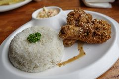 Filipino favorite food Fried chicken with rice. Philippines Royalty Free Stock Photo