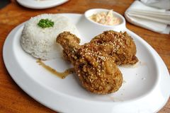 Filipino favorite food Fried chicken with rice. Philippines Stock Photo