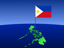 Filipino flag on map. Map of Philippines and filipino flag on pole illustration Stock Photos