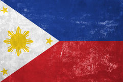 Filipino Flag. Philippines - Filipino Flag on Old Grunge Texture Background royalty free stock images