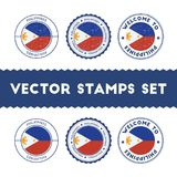 Filipino flag rubber stamps set. National flags grunge stamps. Country round badges collection Stock Photo
