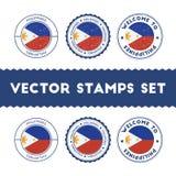Filipino flag rubber stamps set. Stock Photo