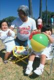 Filipino grandfather with his grandchildren, Santa Barbara, CA Royalty Free Stock Image