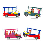 Filipino jeep cartoon. Colorful jeepney philippines local transport royalty free illustration