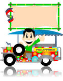 Filipino jeep with sign board. Happy men driving a philippine jeep on white background Stock Image
