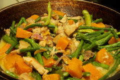 Filipino local cuisine food. With squash, string beans and pork royalty free stock images