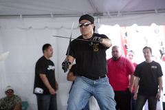 Filipino Martial Arts Demo. LOS ANGELES - APRIL 5:  Members of Lameco Eskrima International demonstrate Filipino Martial Arts (machete fighting) at the Little Royalty Free Stock Images