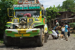 Filipino mountain jeepney breakdown Royalty Free Stock Images