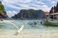 Filipino pump boats on a sunny day Stock Photos