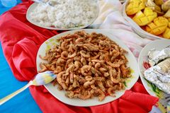 Filipino shrimp food from Boracay hopping tour in Philippines. Filipino shrimp shrimp food from Boracay island hopping tour in Philippines Royalty Free Stock Photography