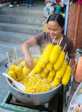 Filipino Street Vendor Selling Steamed Corn Royalty Free Stock Photo