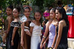 Filipino students in the school yard have a masquerade ball Stock Photography