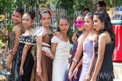 Filipino students in the school yard have a masquerade ball Stock Images