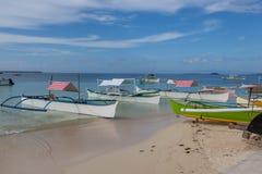 Filipino traditional boats at Bohol. Royalty Free Stock Images