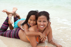 Filipino Woman and Girl at the Beach Royalty Free Stock Images