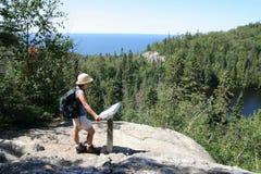 Filipino Woman Hiking Above Lake Superior Royalty Free Stock Photos