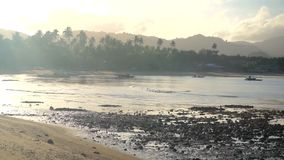 Filipiny Łódź Rybacka przy wschodem słońca zbiory
